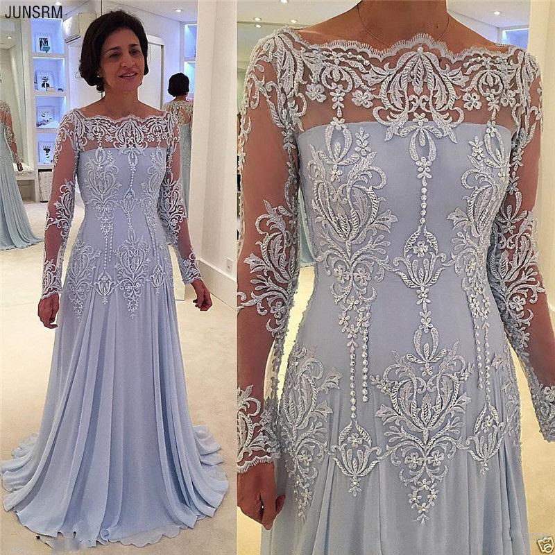Elegant Long Sleeves Pearls Mother Of The Bride Dresses Off The Shoulder Chiffon Vintage Mother Dress Plus Size Customized