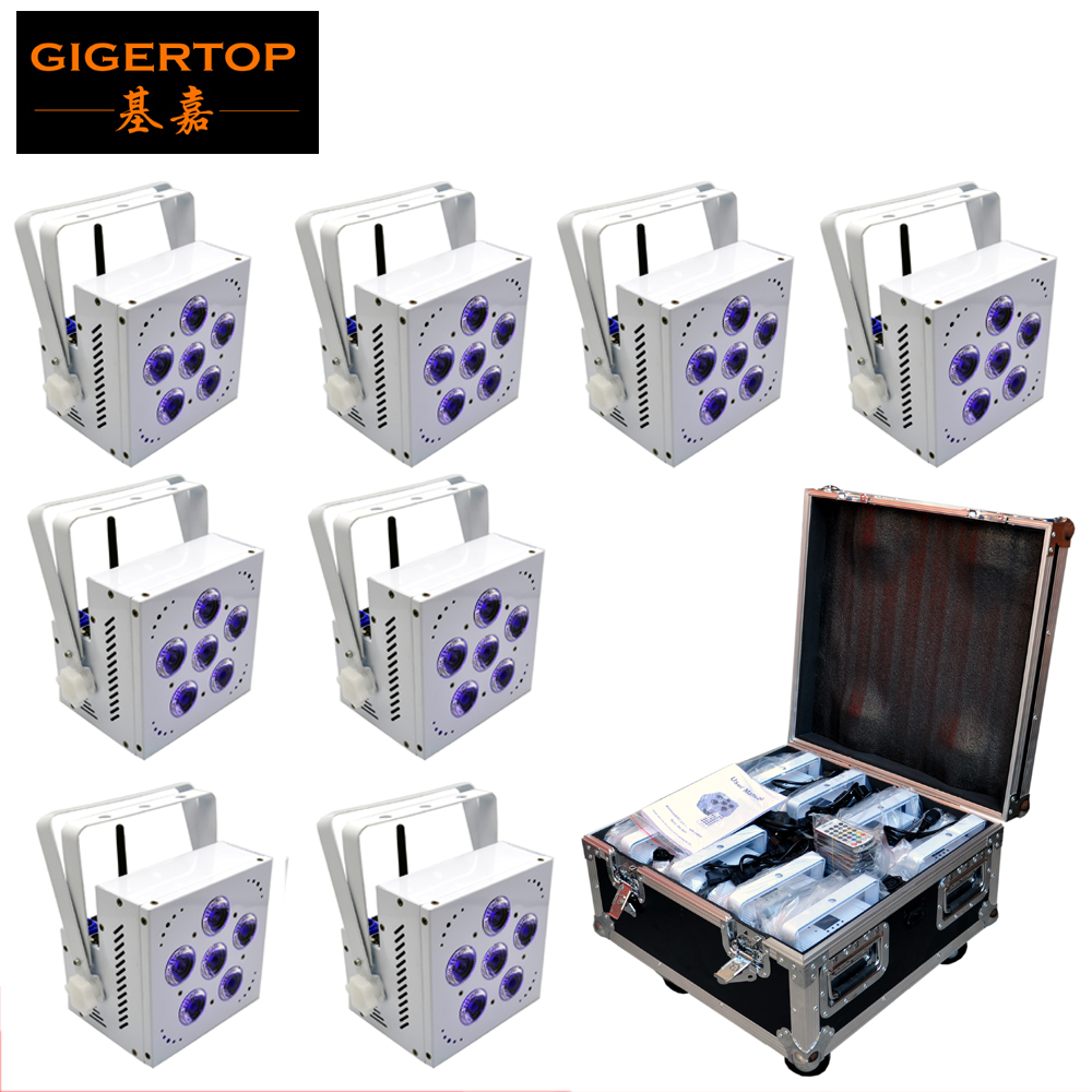 TIPTOP Stage Light 6 x 15W RGBWA 5IN1 Color Battery Wireless Led Par Light DMX512 Control Phone App Function Charging Flightcase