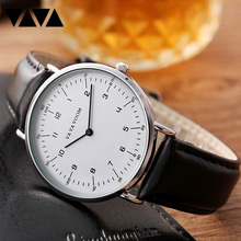 VA VA VOOM Top Brand Luxury Waterproof Quartz Watch Leather Strap Calendar Wrist Watch For Men