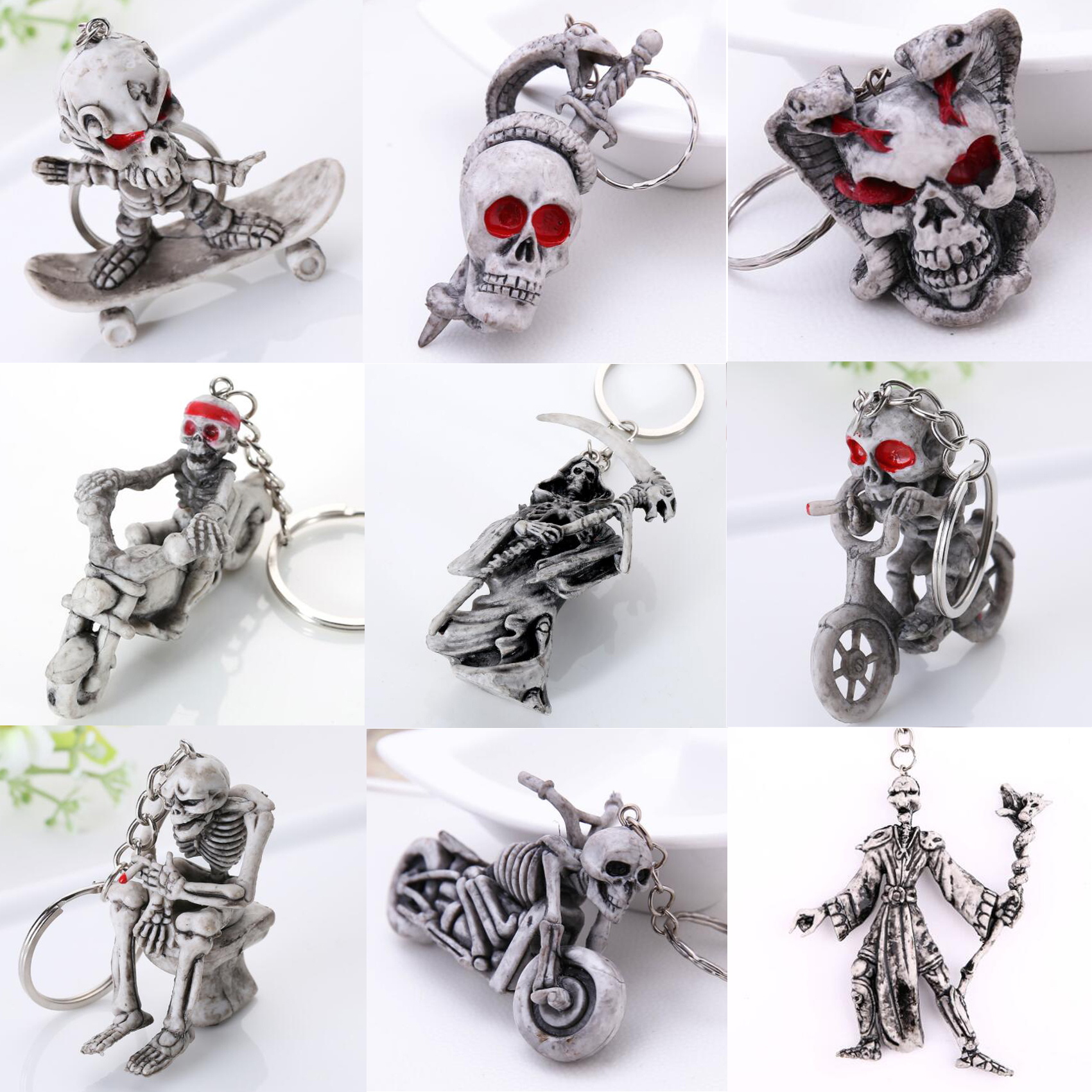 Keychain For Men Skull Zombie Undead Snare Scary Fashion Funny Cute Cartoon Car Bag KeyRing Jewelry Gift