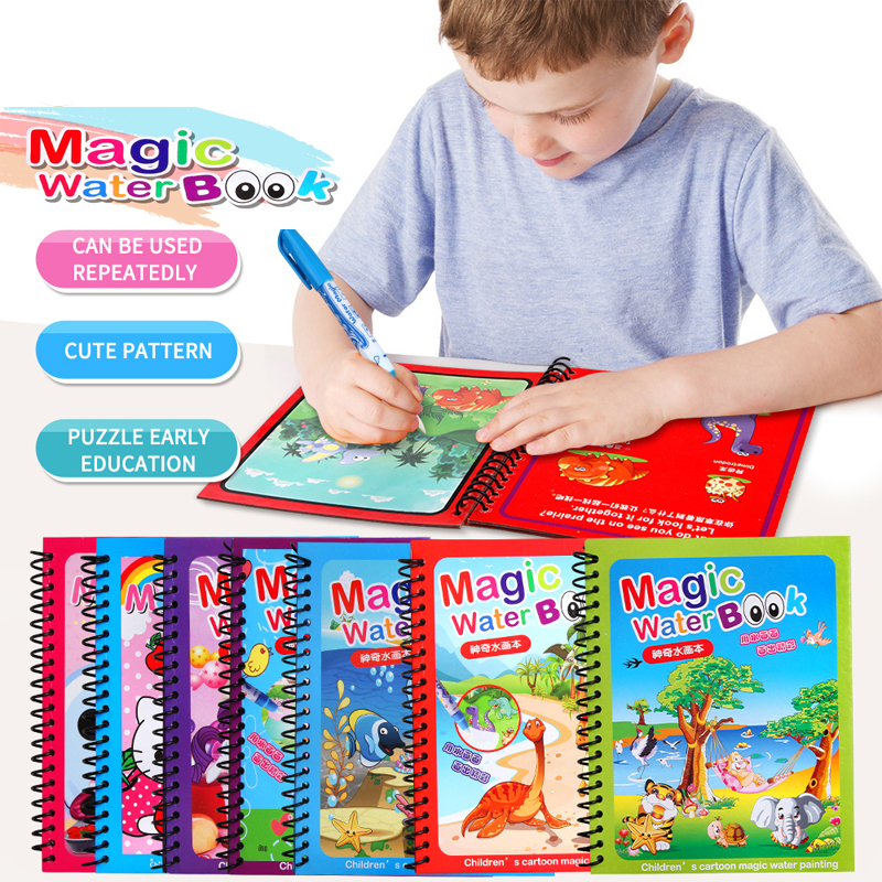14 Kinds Magic Pen Painting Drawing Toy,Water Coloring Book Board For Kids Magical Water Coloring Book Boys&girls Birthday Gift