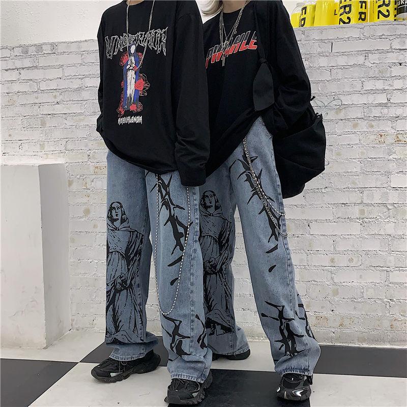 Женские джинсы в стиле Харадзюку, уличные штаны с принтом в стиле хиппи, джинсовые брюки в Корейском стиле с широкими штанинами, винтажные с...