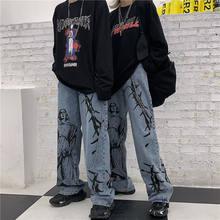 Harajuku calças de brim femininas streetwear impresso hippie denim calças de perna larga coreano do vintage calças soltas streetwear mulher