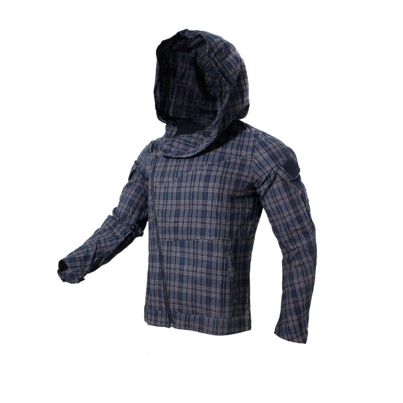 2019 New Grey Slanted Zipper Assassin Hoodie  Tactical Plaid Jacket Woman & Man  Jacket