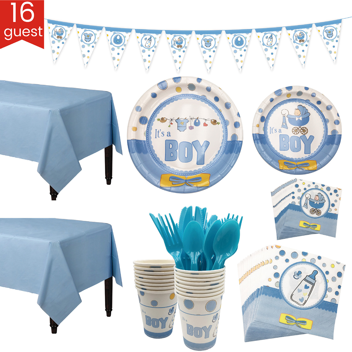 New Blue&  Pink Baby Shower Party Tableware & Banner Set For 16 Guests Plates Cups Table Cloth Knife Fork Spoon Party Decoration