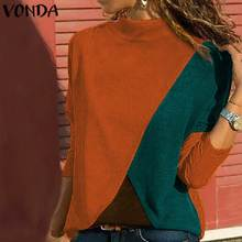VONDA 2020 Women Blouses Autumn Long Sleeve Patchwork Blusas Female Casual Loose Beach Party Shirts Plus Size Tunic And Tops