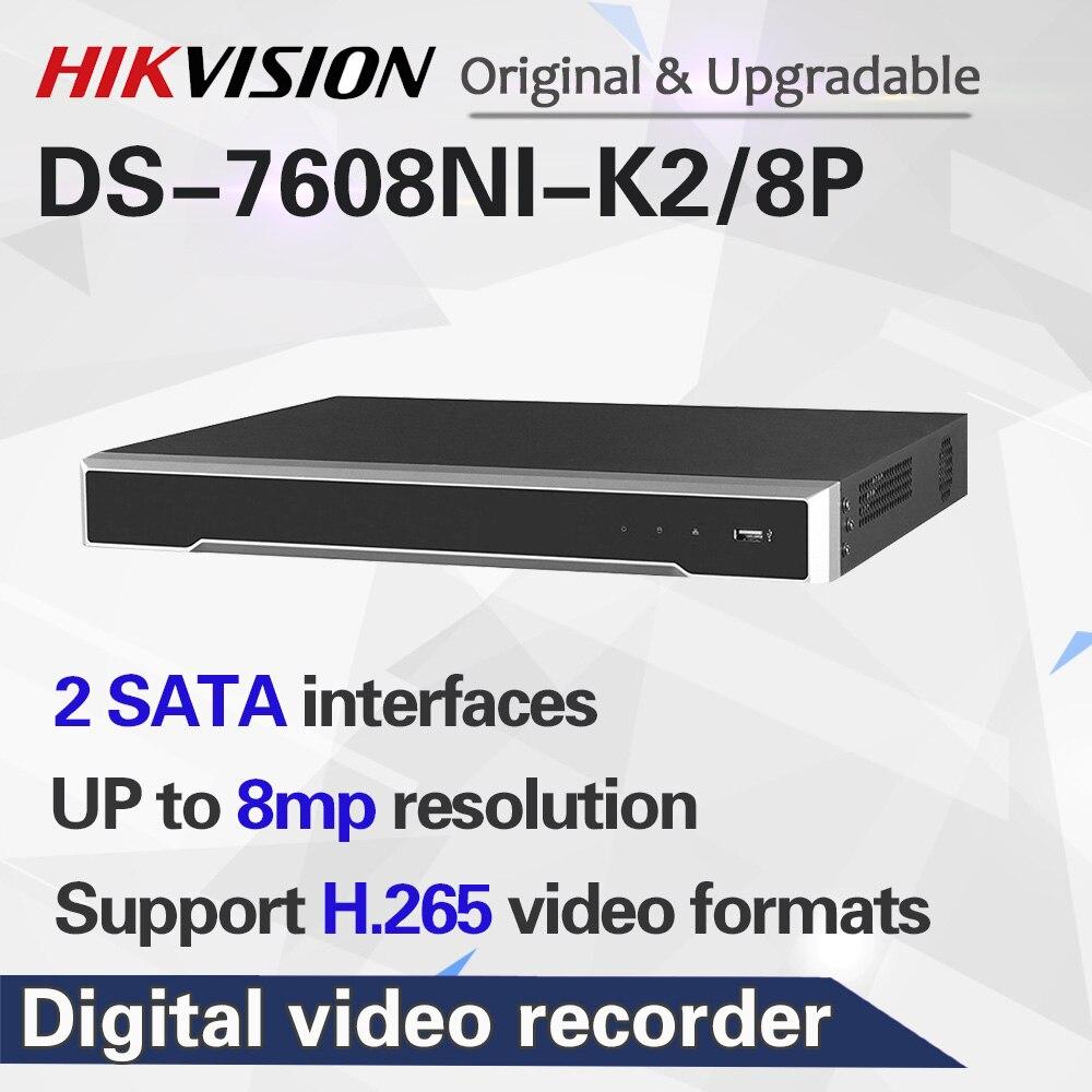 Hikvision 8CH POE NVR DS-7608NI-K2/8 P встроенный разъем и воспроизведение 4K видео рекордер 2 SATA Интерфейсы 8 порт POE