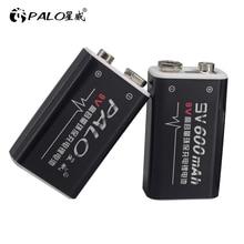 цена на PALO 1-16pcs 9V 6F22 600mAh Rechargeable Battery 6F22 9 volt lithium li-ion batteries for Multimeter electric guitar etc
