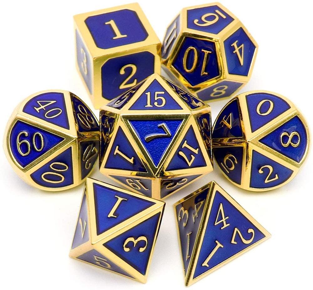 Metal dnd dice conjunto 7 morrer ouro azul metal d & d dados para masmorras e dragões jogos-brilhante esmalte dados