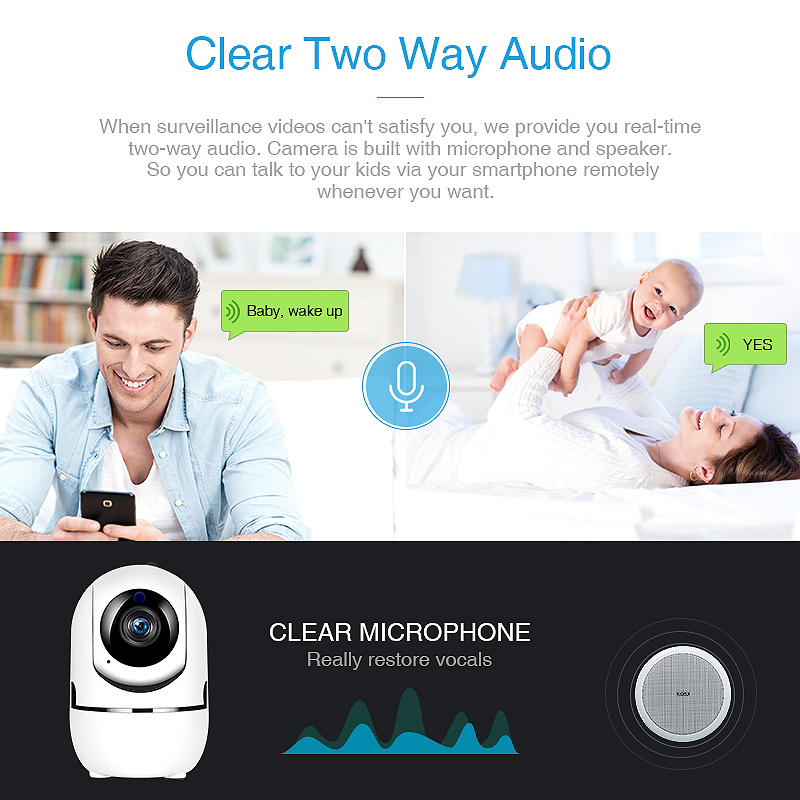 Image 3 - YCC365 1080P Cloud HD IP Camera WiFi Auto Tracking Camera Baby Monitor Night Vision Security Camera Home Surveillance CameraSurveillance Cameras   -