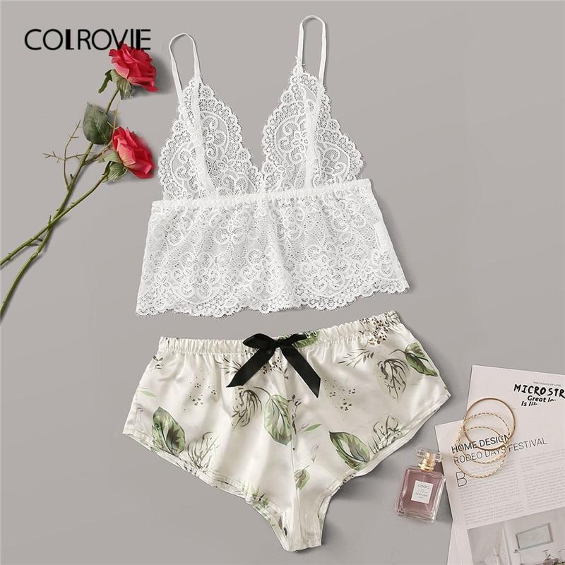 COLROVIE Floral Lace Sheer Bralette With Satin Shorts Women Sexy Lingerie Set 2019 Summer Bra Underwear Set Ladies Sleepwear
