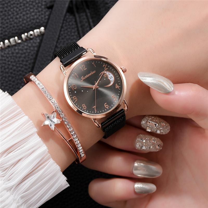 Rose Gold Mesh Strap Women's Fashion Watches Simple Numbers Dial Luxury Quartz Watch Women Clock Rose Gold Pointer Wristwatches