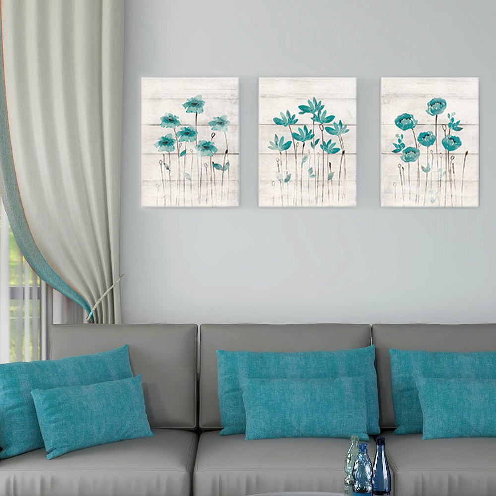 Teal Gray Bathroom Wall Decor Canvas Painting Flower Art Poster For Nordic Farmhouse Scandinavian Bedroom Home Decor Pictures Painting Calligraphy Aliexpress