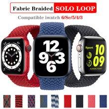 Bracelet en tissu en Nylon à boucle Solo pour Bracelet de montre Apple tresse 44mm 40mm 38mm 42mm Bracelet de sport élastique pour IWatch série 6 SE 5 4 3