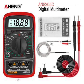 ANENG AN8205C Digital Multimeter auto range Backlight AC/DC Ammeter Volt Ohm Tester Portable Meter Multimetro With Thermocouple - discount item  30% OFF Measurement & Analysis Instruments