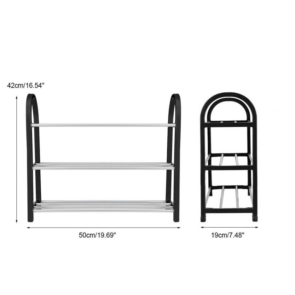 Image 4 - Shoe Rack Aluminum Metal Standing Shoe Rack DIY Shoes Storage Shelf Home Organizer Accessories shoe rack-in Shoe Racks & Organizers from Home & Garden
