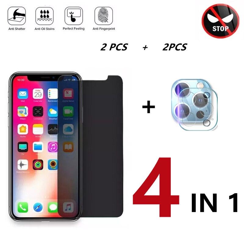 Закаленное защитное стекло 4 в 1 для IPhone X XR XS 11 12 Pro Max 8 7 6 6S Plus