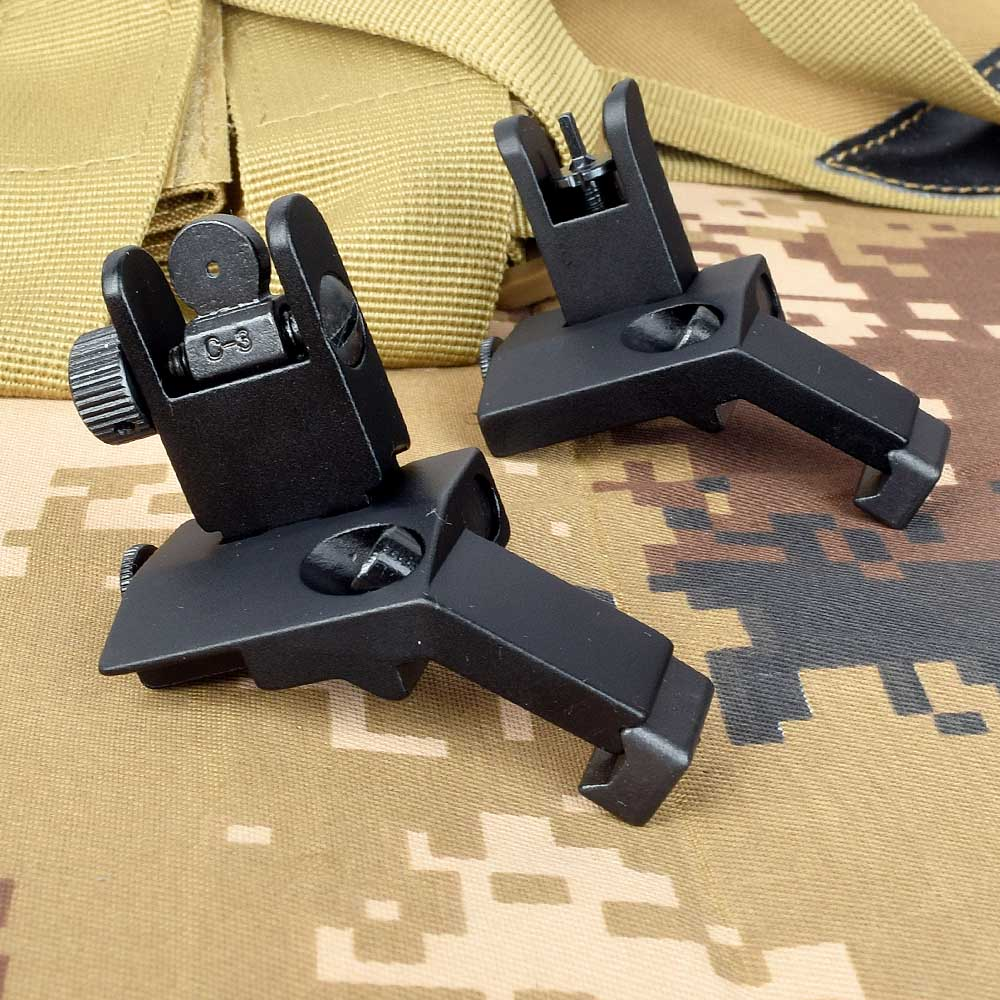 Tactical BUIS M4 AR15 AR-15 Front Rear Sight Flip Up Rapid Transition Backup Sight For Picatinny Rail