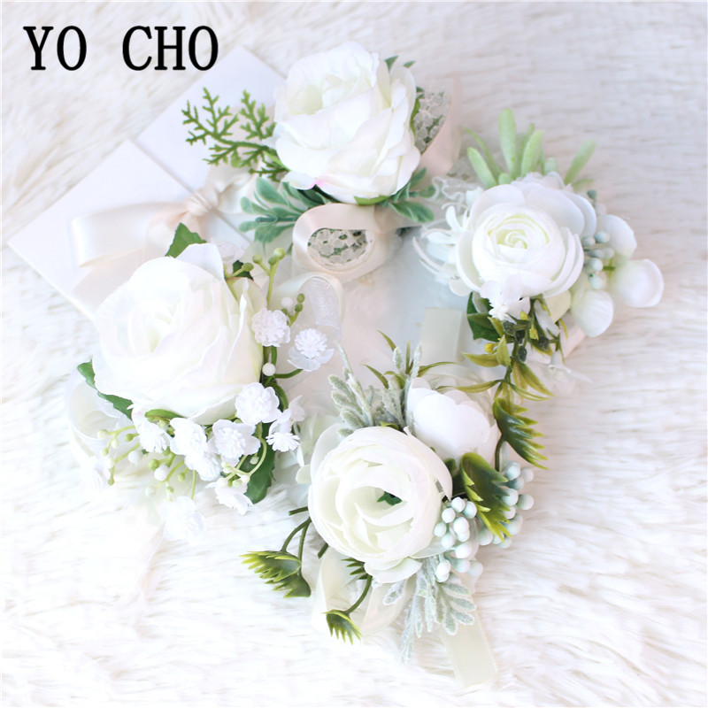 Silk Roses White Groom Boutonniere Flowers Wedding Wrist Corsage Bracelet Bridesmaids Prom Marriage Corsage Flowers Accessories
