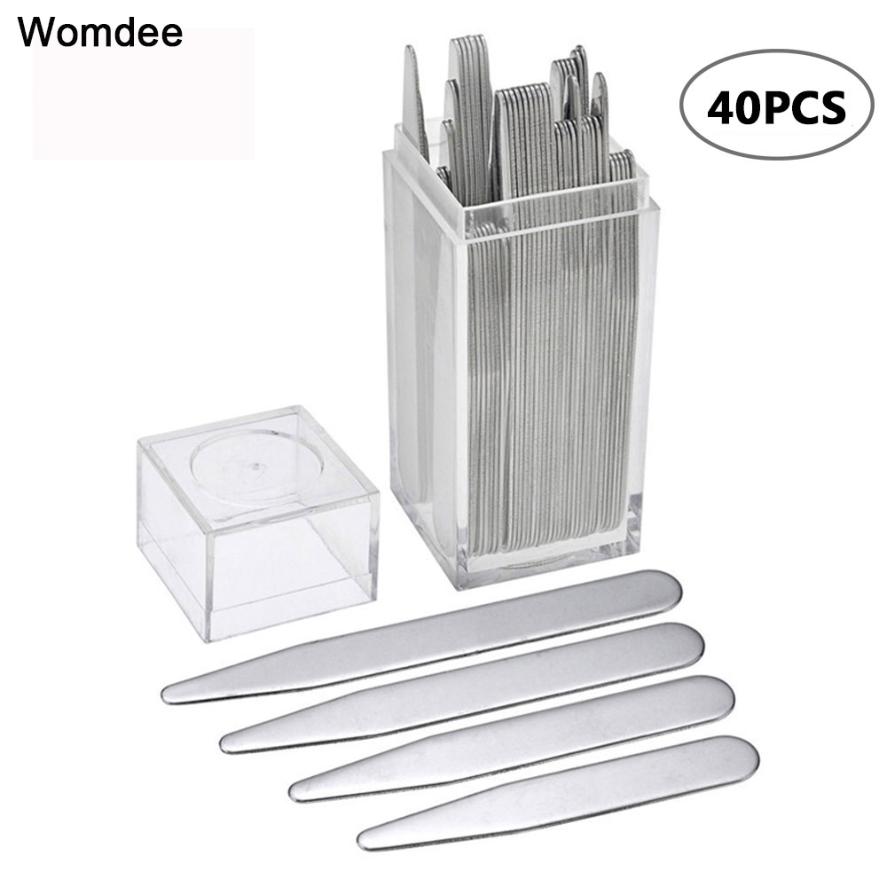 40pcs 201 Stainless Steel Collar Stays Bones Stiffeners Silver Color With Box 5.58cm 6.35cm 7cm 7.6cm