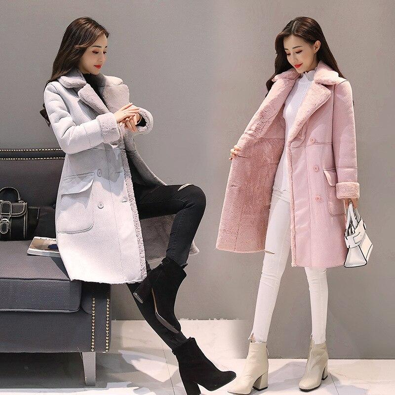 Femmes daim fourrure hiver manteau nouvelle mode épaisse fausse peau de mouton longue veste pardessus femme solide chaud Trench manteau - 4