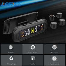 Solar TPMS Temperature Warning Fuel Save With 4 External Sensors Tire Pressure Monitoring System Car Tyre Pressure Monitor