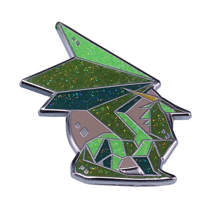 クリスタルドラゴングリッターバッジ折り紙アートアクセサリー