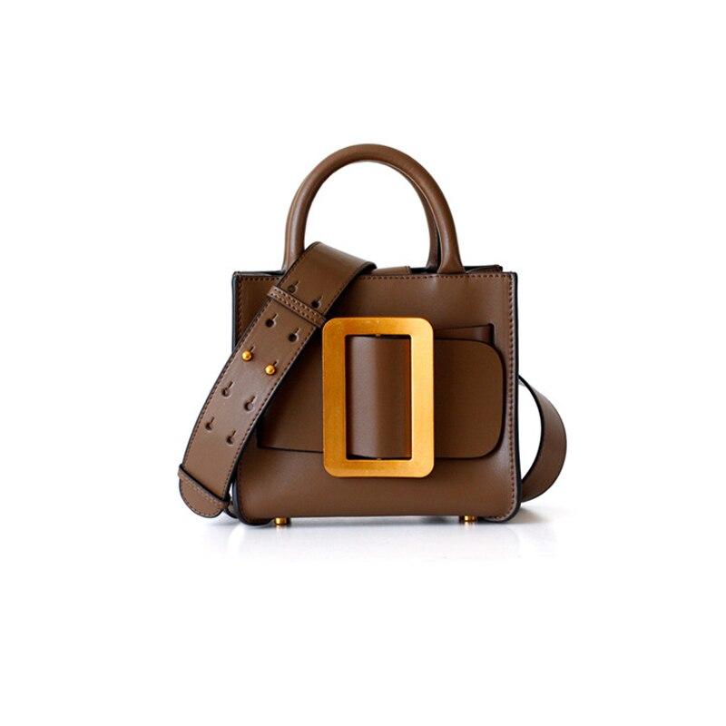 Brand Designer Big Metal Bucket Blet Women Shoulder Bag Genuine Leather Korean Style Woman Handbag Wide Strap Small Bag