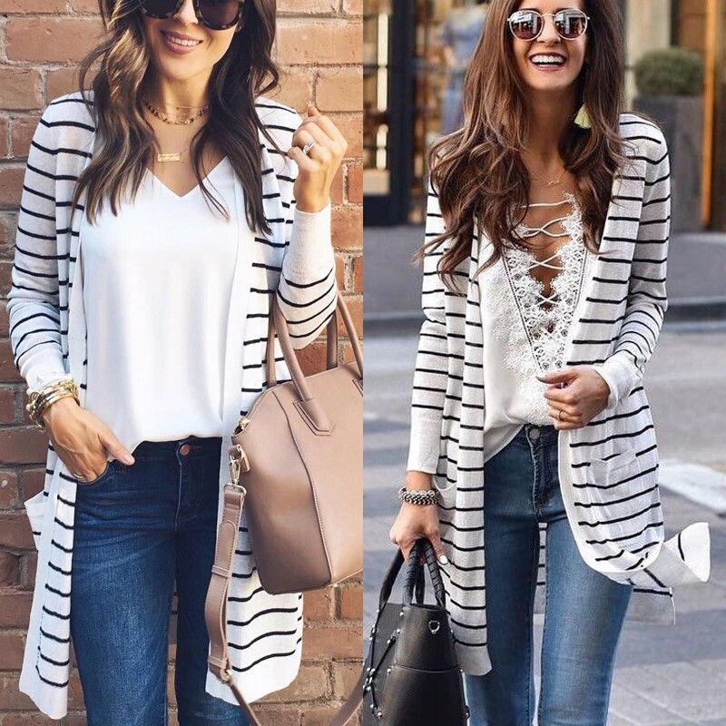 Spring Autumn Stripe Sweater Women Top Long Sleeve Loose Cardigan Sweater Top Lady Casual Long Cardigan Outwear