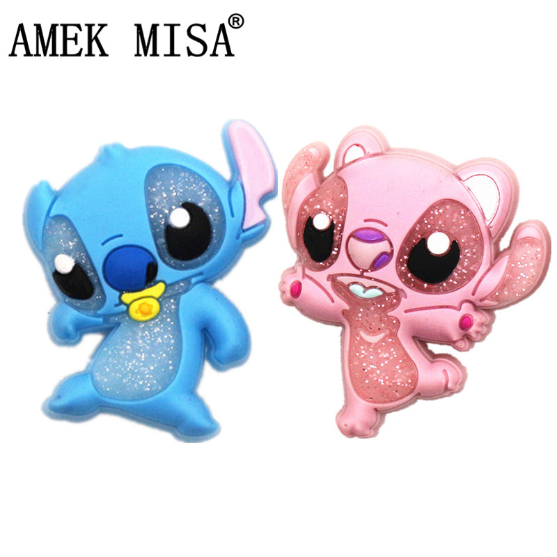 High Imitation Cartoon Stitch Shoe Charms Accessories Original Blue&Pink Stitch Shoe Decoration For Jibz Kids Party X-mas Gifts