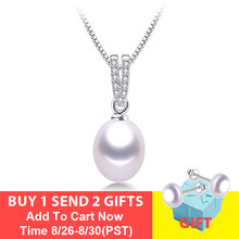 Fashion AAA Zircon 100% Natural Freshwater Pearl Pendants For Women Elegant Silver 925 Necklace 45cm Fine Jewelry With Box(China)