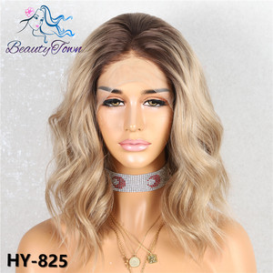 Image 2 - BeautyTown Dark Root Ombre Brown Grey Pink Green Mint Short Blogger Daily Makeup Glueless Synthetic Lace Front Wedding Party Wig