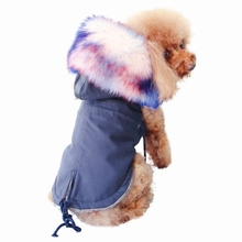 Pet Dog Winter Clothes Autumn Winter Luxury Faux Fur Collar Dog Coat Warm Handsome Fluffy Hooded Coat Puppy Windproof Jacket faux shearling hooded coat