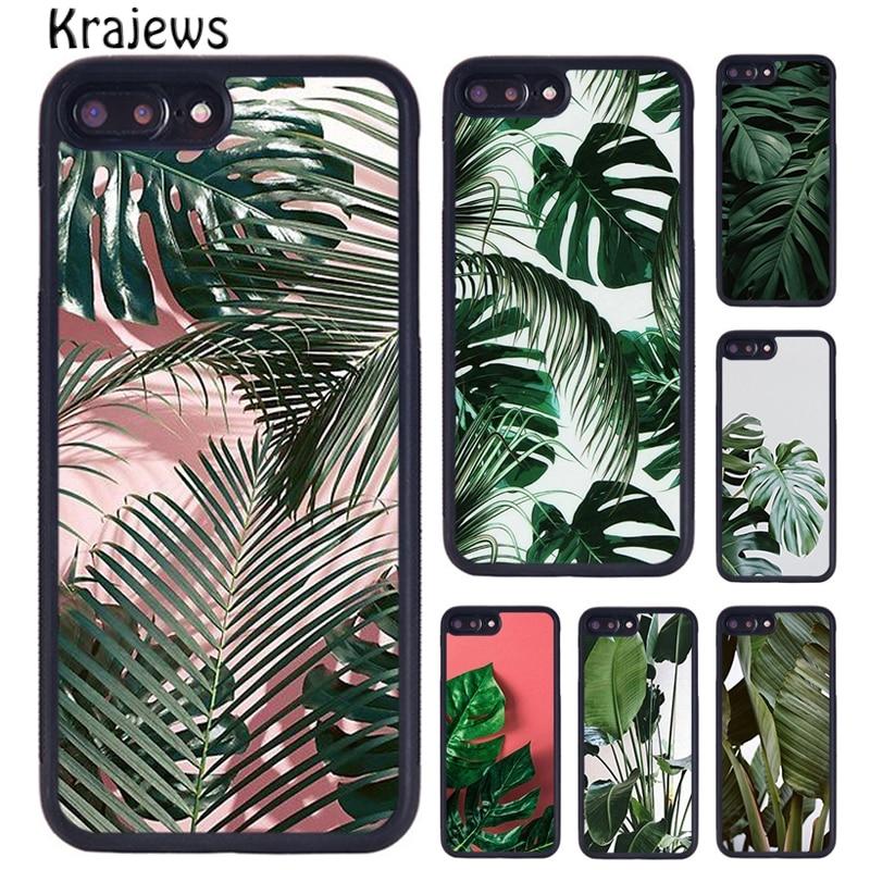 Чехол для телефона krajew Monstera с тропическими зелеными листьями и цветами для iPhone 5s 6s 7 8 plus X XS XR 11 12 pro max Samsung S8 S9 S10
