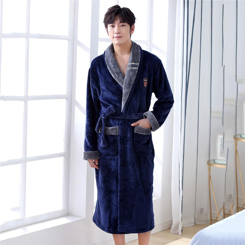 Turn-down Collar Men Kimono Robe Gown Casual Loose Warm Bathrobe V-neck Long Sleeve Sleepwear Nightgown Lounge Winter Home Wear