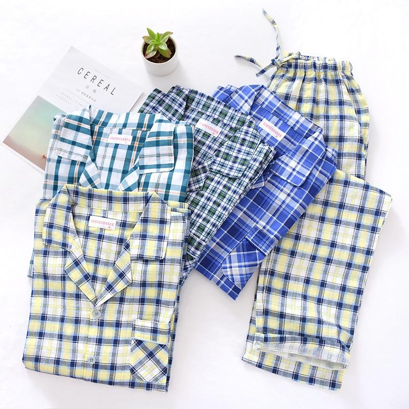 Men's Cotton Gauze Plaid Pajama Suit Autumn Thin Long Sleeve Nightwear Turn-down Collar Men Pijamas Big Size Sleepwear For 100kg