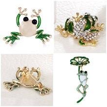 Broches de rana de diamantes de imitación para mujer Color verde broche de Animal Pin de lujo Vintage abrigo con joyas accesorios Unisex
