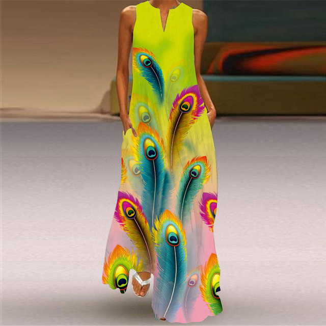2021 new summer women's dress cotton sleeveless long printed V-neck dresses seaside style Sexy casual loose plus size 5XL dress 5