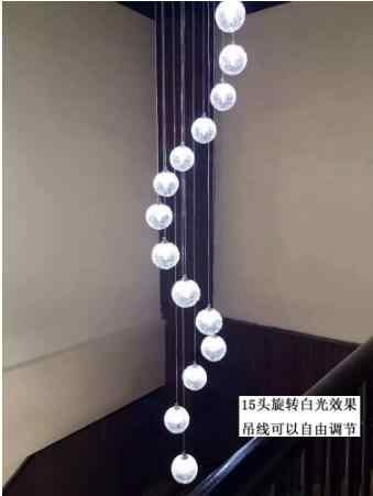 Cầu thang Dài Đèn Chùm 2 Mặt Cầu Thang Xoắn Ốc Đèn Chùm Hiện Đại Kính Đơn Giản Spheric Phòng Khách Biệt Thự LED Đèn LED măng xông