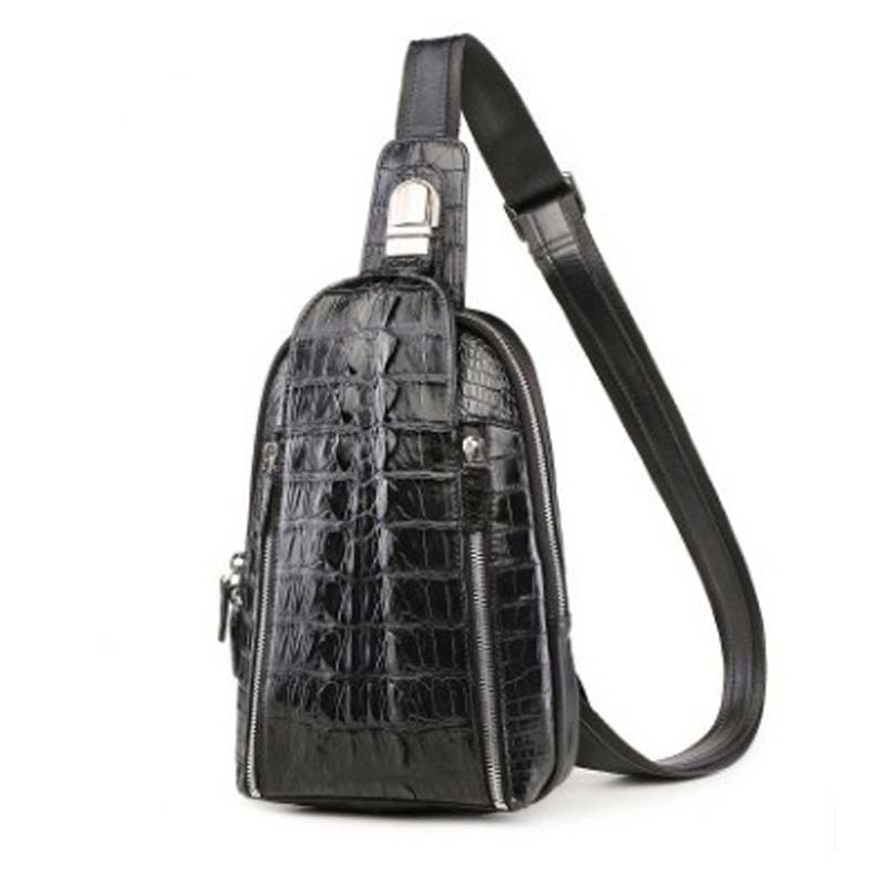 LINSHE high-grade  crocodile  skin men Chest package  male Genuine leather  fashion  tide  new  Small chest bag   men  Chest bag