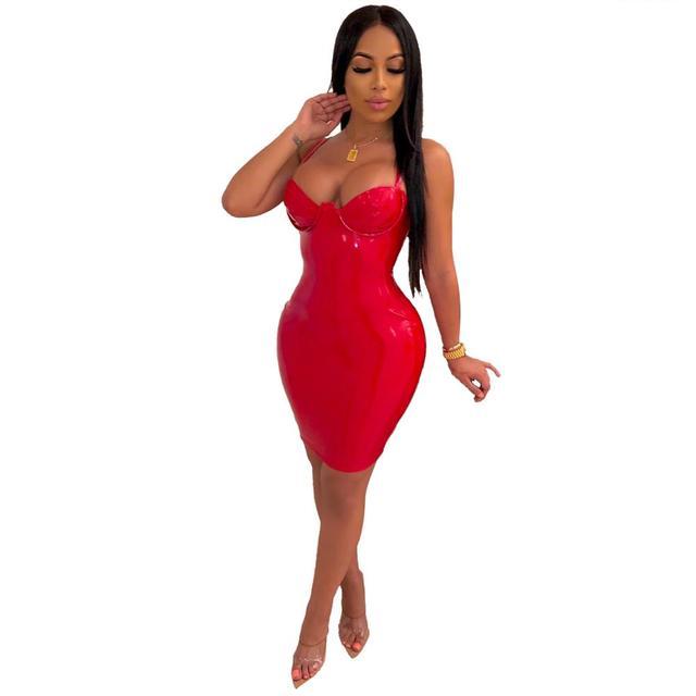 JRRY Women Faux Leather Mini Dress Spaghetti Strap Zippers Sheath PU Clothing Deep V Neck Short Outdoor Wear 2