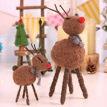 Christmas Decoration Brown Wool Felt Deer Ornaments Handmade Childrens Gift Desktop Accessories