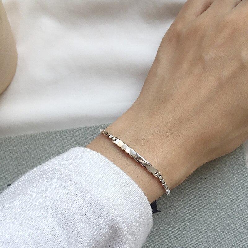 100% Solid Real 925 Sterling Silver Box Chain Link Bracelet For Women Girls Lady 21CM Women's Fine Jewelry Bracelets
