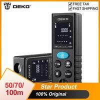 DEKO LRD110 Medidor láser de distancia de 50M. 70M 100M Digital Dual medida rojo telémetro láser distancia/superficie/volumen/Pitágoras