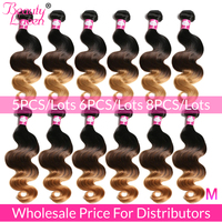 Ombre Body Wave Bundles Wholesale Price 5/6/8 Bundles Brazilian Hair Weave Bundles Remy Human Hair Extensions For Distributors