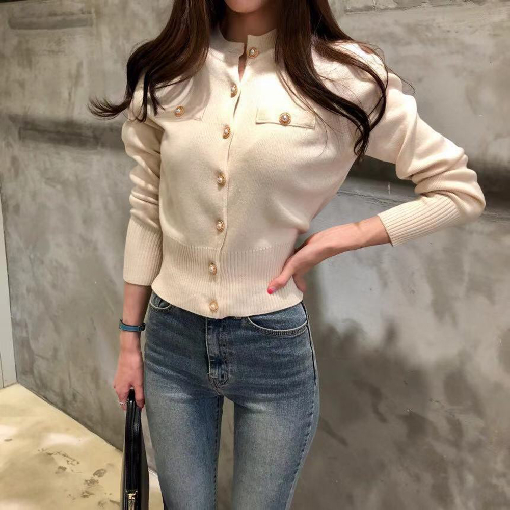 Women's Sweaters Autumn Winter 2019 Cardigans Knitted Button Single Breasted Fashion Korean Style Solid Tops
