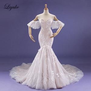 Image 1 - Liyuke Fabulous Dropped Waistline Mermaid Wedding Dress Court Train Inner Champagne Off The Shoulder Bridal Dresses