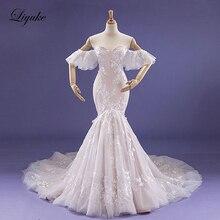 Liyuke Fabulous ลดลงรอบเอว Mermaid งานแต่งงานชุดรถไฟศาลภายในแชมเปญปิดไหล่ชุดเจ้าสาว