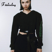 Fitshinling Embroidery Letter Casual Sweatshirt Female Autumn Winter Athleisure Cropped Women Sweatshirts Slim Black Moletom New