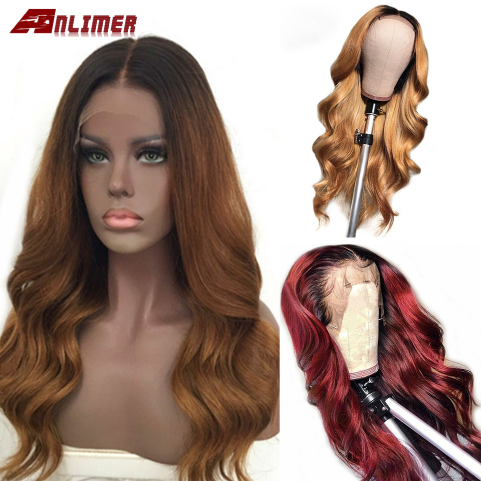Body Wave Ombre 1B 30 Pre Plucked Lace Front Human Hair Wigs Middle Part Brazilian Remy Ombre Blonde Burgundy 99J Lace Front Wig